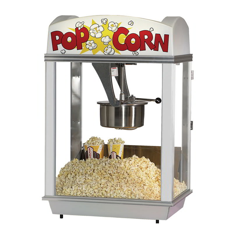 Gold Medal 2007ST Pop-A-Lot Popcorn Machine w/ 8-oz EZ Kleen Kettle & Stainless Dome, 120v