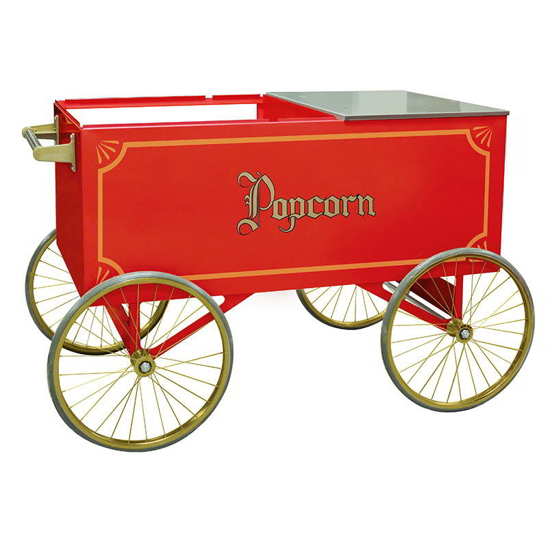 Gold Medal 2012 Popcorn Wagon w/ Stainless Countertop & 4 Spoke Wheels, Red, 64x34""