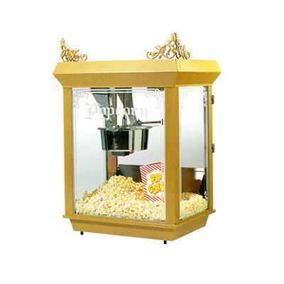 Gold Medal 2014 Gay 90's Whiz Bang Popcorn Machine, 14 oz Kettle, Gold Dome, 120v
