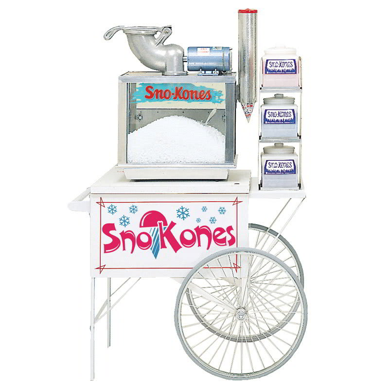 "Gold Medal 2015SK Food Cart for Sno Kones w/ Graphics, 42""L x 27""W x 35""H, White"