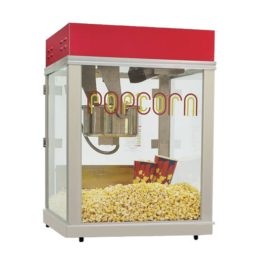 Gold Medal 2024 Econo 16 Popcorn Machine w/ 16-oz Unimaxx Kettle & Red Dome, 120v