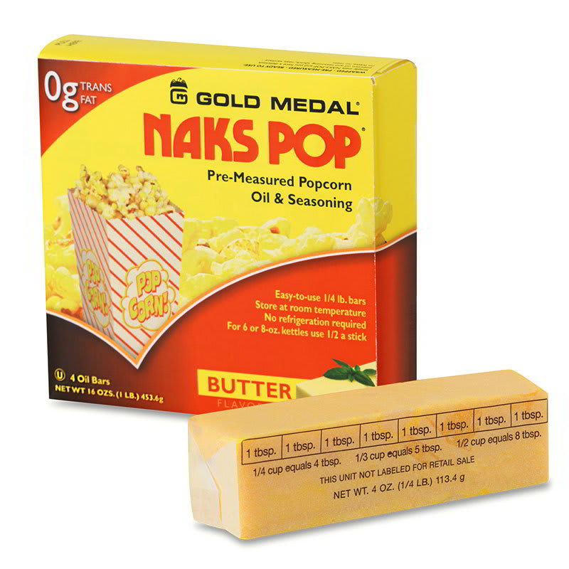 Gold Medal 2042 Naks Pop Oil Bars, (4) 1/4 lb Wrapped Sticks Per 1 lb Junior Carton