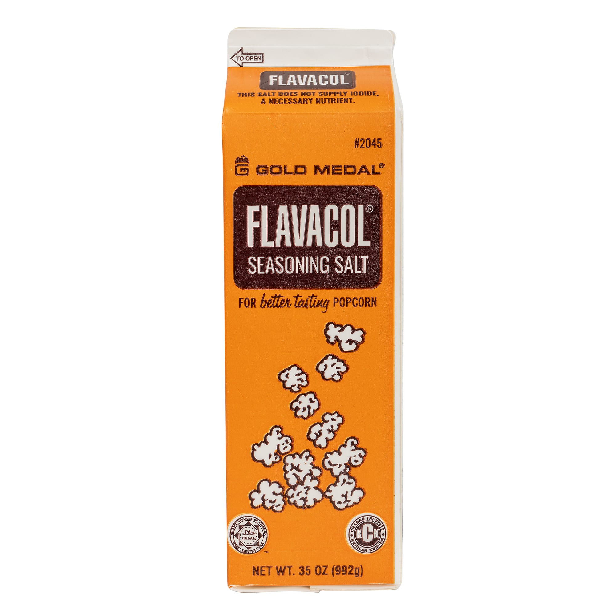 Gold Medal 2045 Original Flavacol Seasoning Salt w/ (12) 35-oz Cartons, Gluten Free