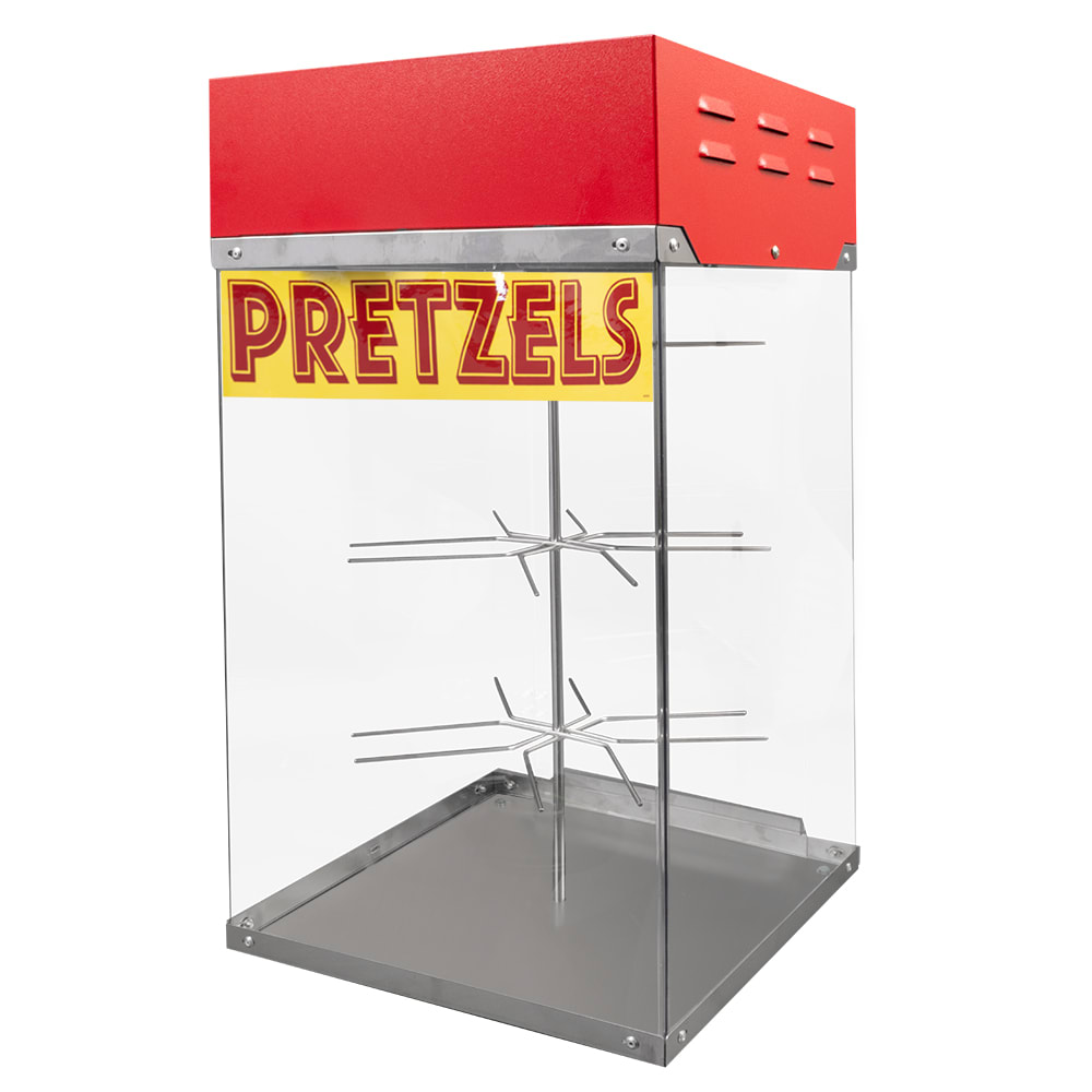 "Gold Medal 2050 16"" Countertop Pretzel Display Case w/ Motorized Rack, Stainless Base"