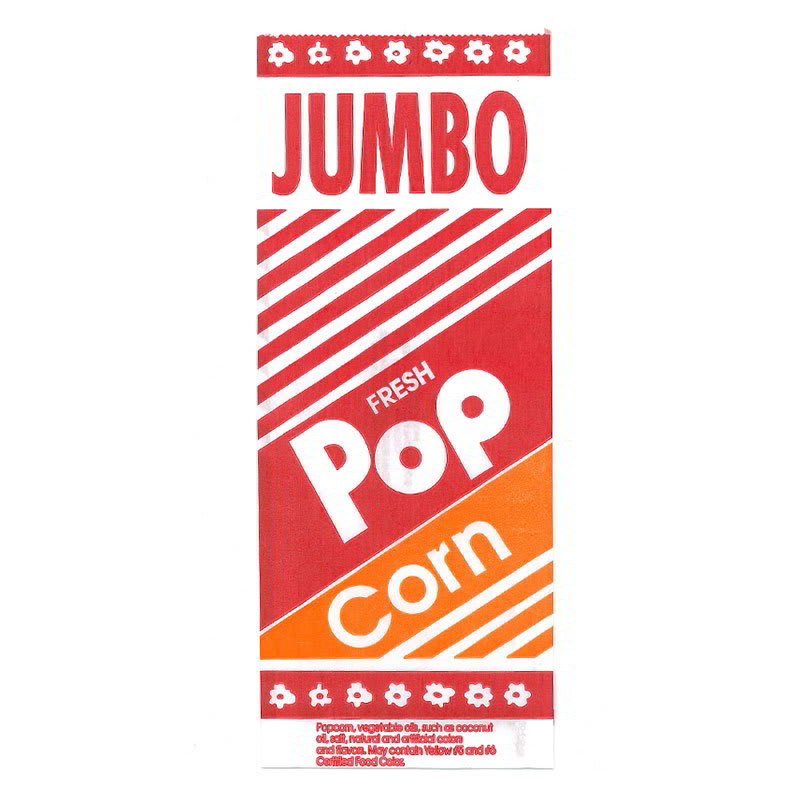 Gold Medal 2055 2 oz Disposable Popcorn Jumbo Bags, 2,000/Case