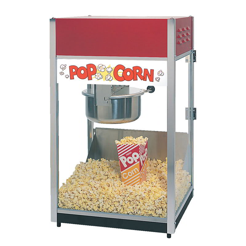 Gold Medal 2085 Unimaxx-60 Popcorn Machine w/ 6 oz Spun Stainless Kettle & Red Dome, 120v