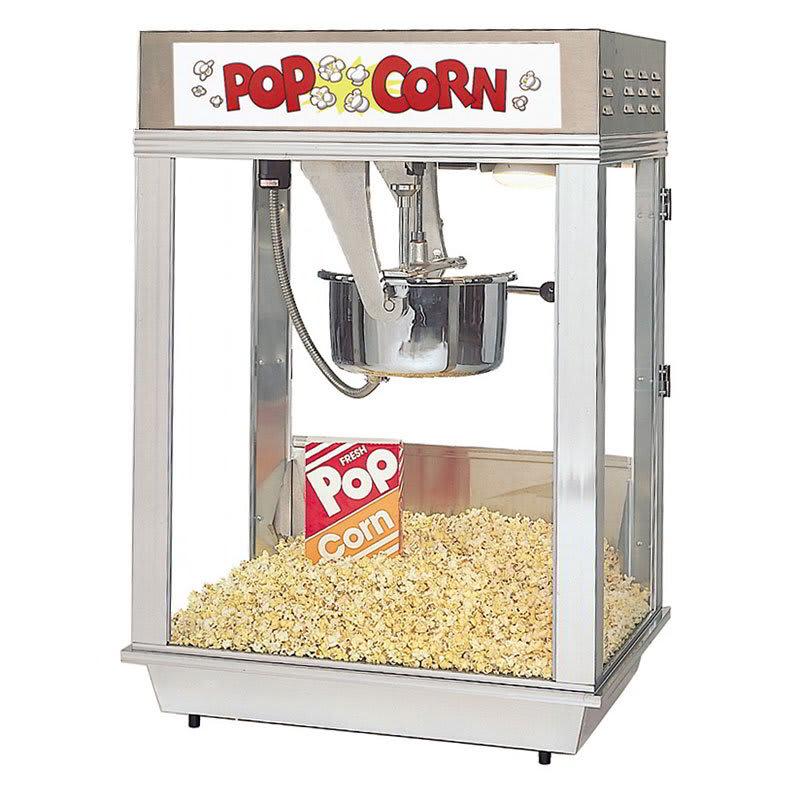 Gold Medal 2102E 120240 Deluxe Citation Popcorn Machine w/ 16-oz Kettle & White Dome, 120/240V