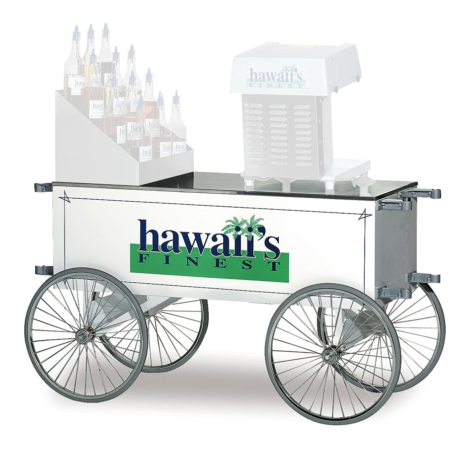 """Gold Medal 2129HF Food Cart for Shaved Ice w/ Graphics, 57""""L x 26""""W x 31.5""""H, White"""