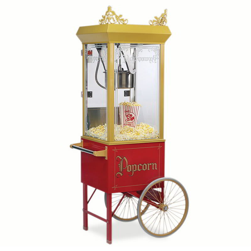 Gold Medal 2131 120208 8-oz Gay 90s Pinto Popcorn Machine w/ Etched Glass & Gold Dome, 120v