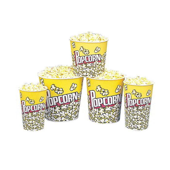 Gold Medal 2132PC 24-oz Popcorn Design Disposable Popcorn Butter Cups, 1,000/Case