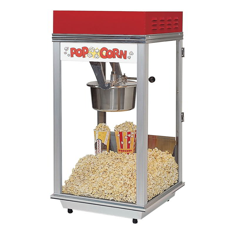 Gold Medal 2152 Bronco Pop Heavy Duty Popcorn Machine w/ 8-oz Kettle & Red Dome, 120v