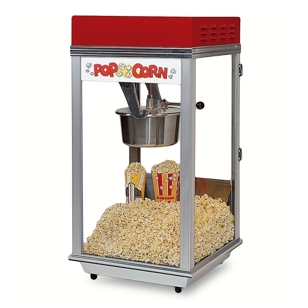 Gold Medal 2152ST 120240 Bronco Pop Heavy Duty Popcorn Machine w/ 8-oz Kettle & Stainless Dome, 120/240V