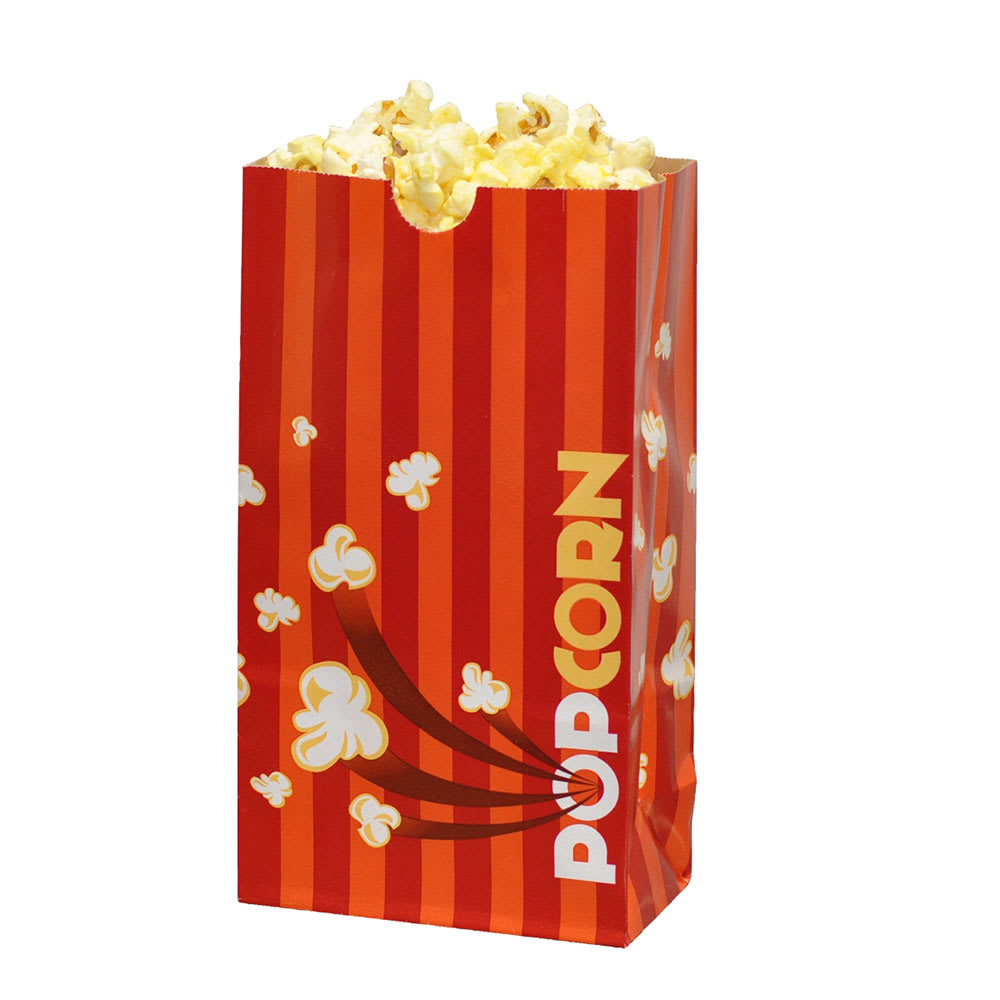 Gold Medal 2208 46 Oz Orange Disposable Popcorn Bags Laminated 1 000 Case