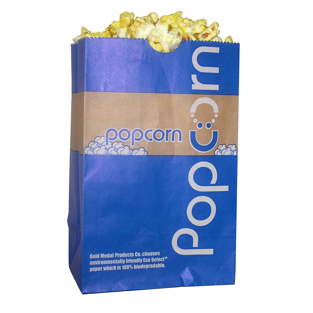 Gold Medal 2208E 46-oz EcoSelect Natural Fiber Paper Disposable Popcorn Bags, 1,000/Case