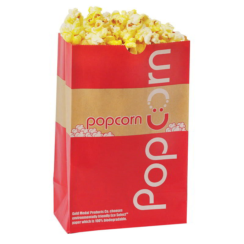 Gold Medal 2209E 85-oz EcoSelect Natural Fiber Paper Disposable Popcorn Bags, 500/Case