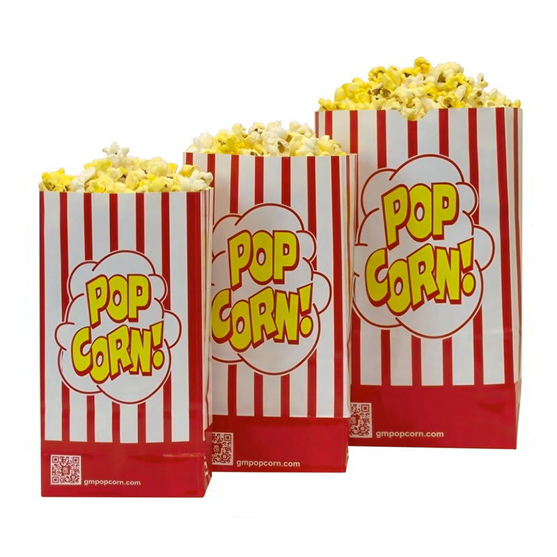 Gold Medal 2209sp 85 Oz Disposable Popcorn Bags Red White Laminated 1 000 Case