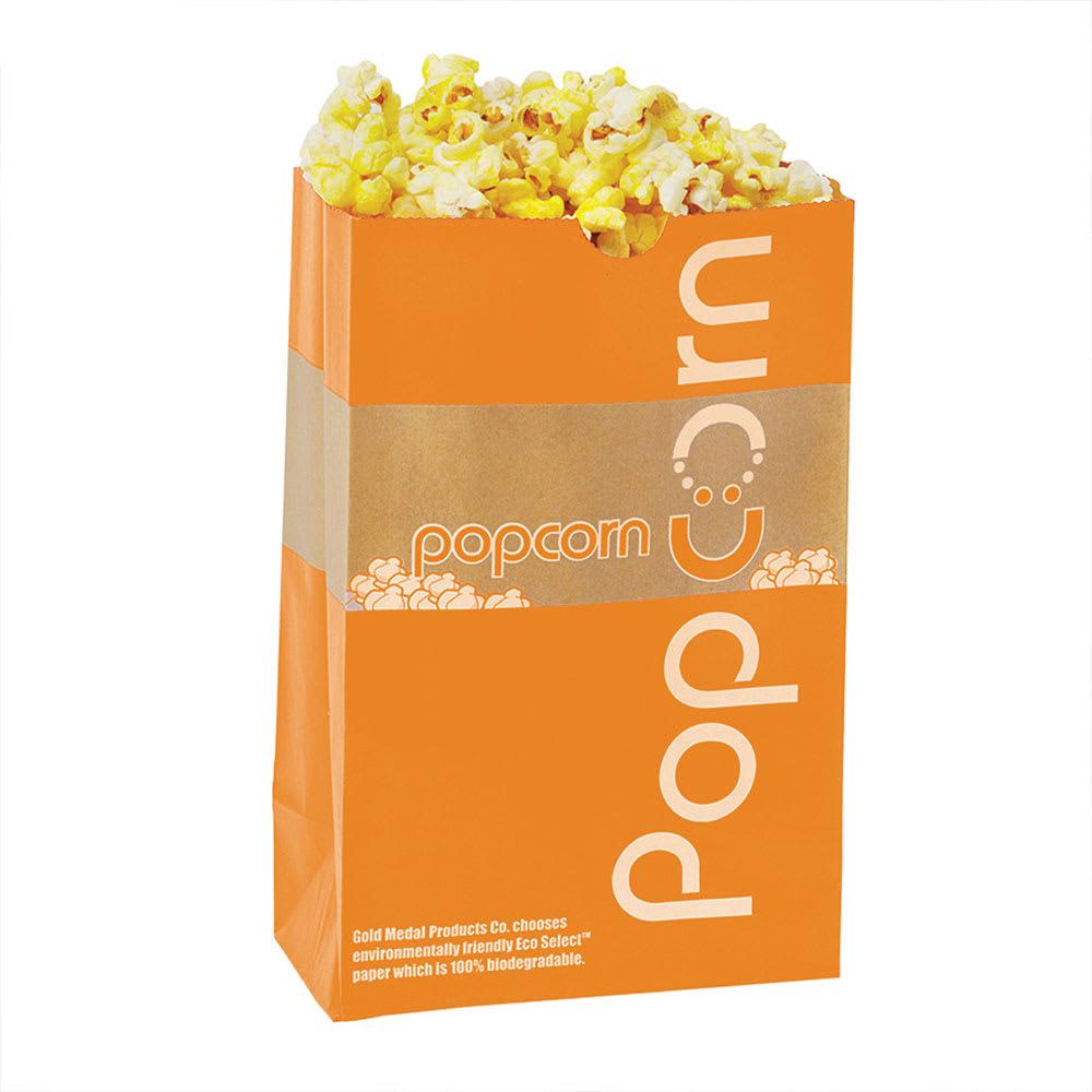Gold Medal 2210E 170 oz EcoSelect Natural Fiber Paper Disposable Popcorn Bags, 500/Case
