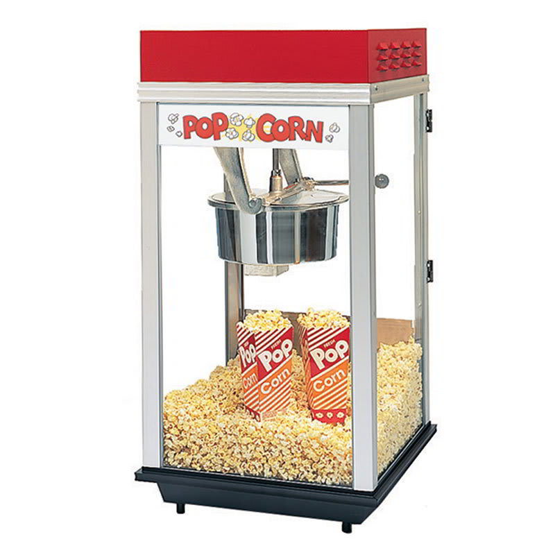 Gold Medal 2214 Red Top-12 Popcorn Machine w/ 14-oz Kettle & Red Powder Dome, 120v