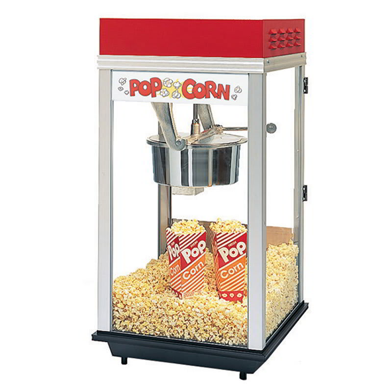 Gold Medal 2214ST 120208 Red Top-12 Popcorn Machine w/ 14-oz Kettle & Stainless Dome, 120/208V