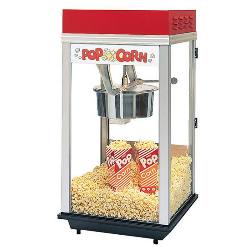 Gold Medal 2214ST Red Top-12 Popcorn Machine w/ 14-oz Kettle & Stainless Dome, 120v