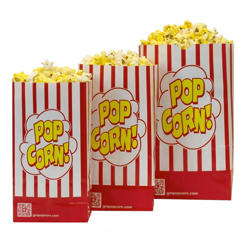 Gold Medal 2232SP 130 oz Disposable Popcorn Bags - Red & White, Laminated, 500/Case