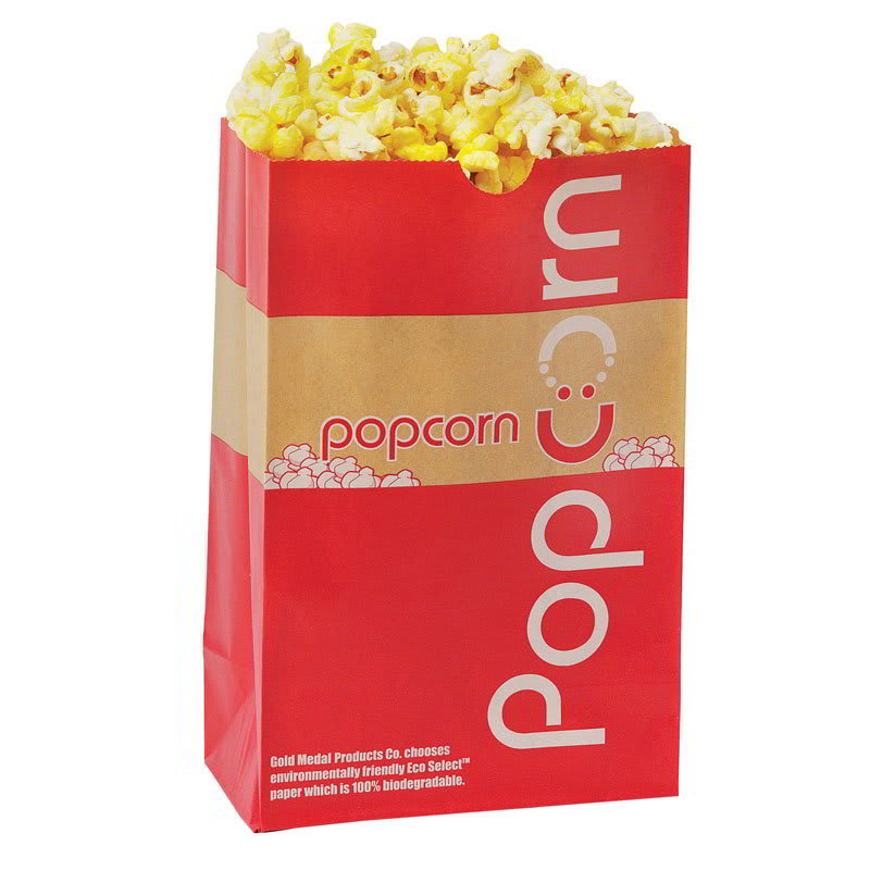 Gold Medal 2259E 32-oz EcoSelect Natural Fiber Paper Disposable Popcorn Bags, 1,000/Case