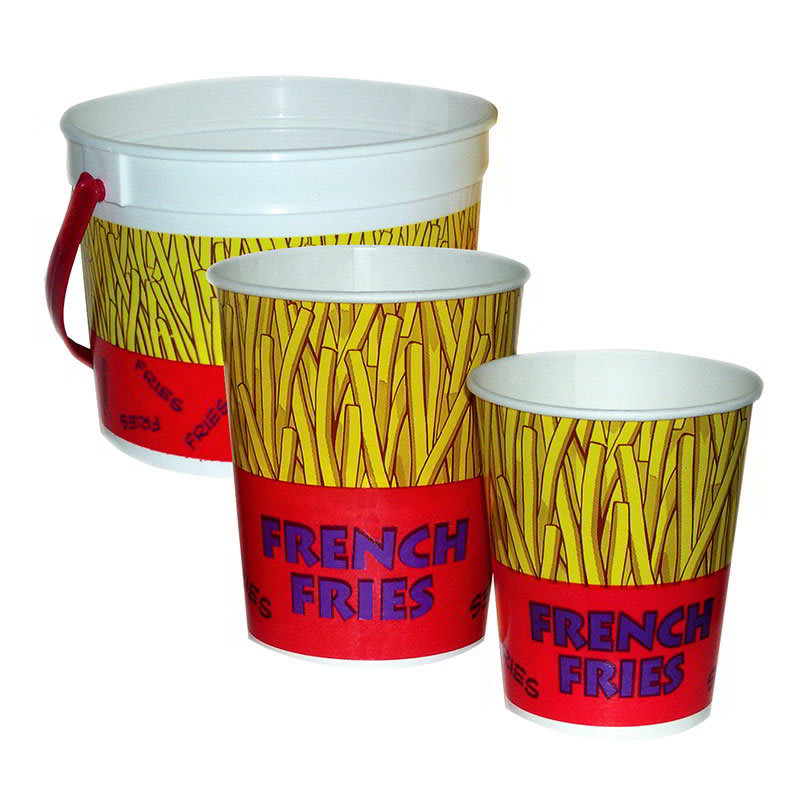 Gold Medal 2303 48 oz Plastic French Fry Bucket, 300/Case