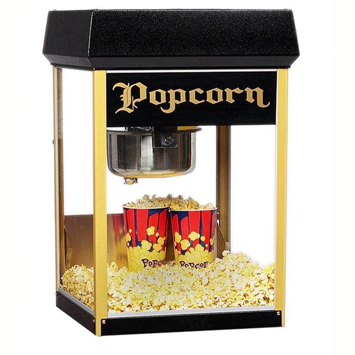 Gold Medal 2408BKG FunPop Popcorn Machine w/ 8 oz EZ Kleen Kettle & Black & Gold Finish, 120v