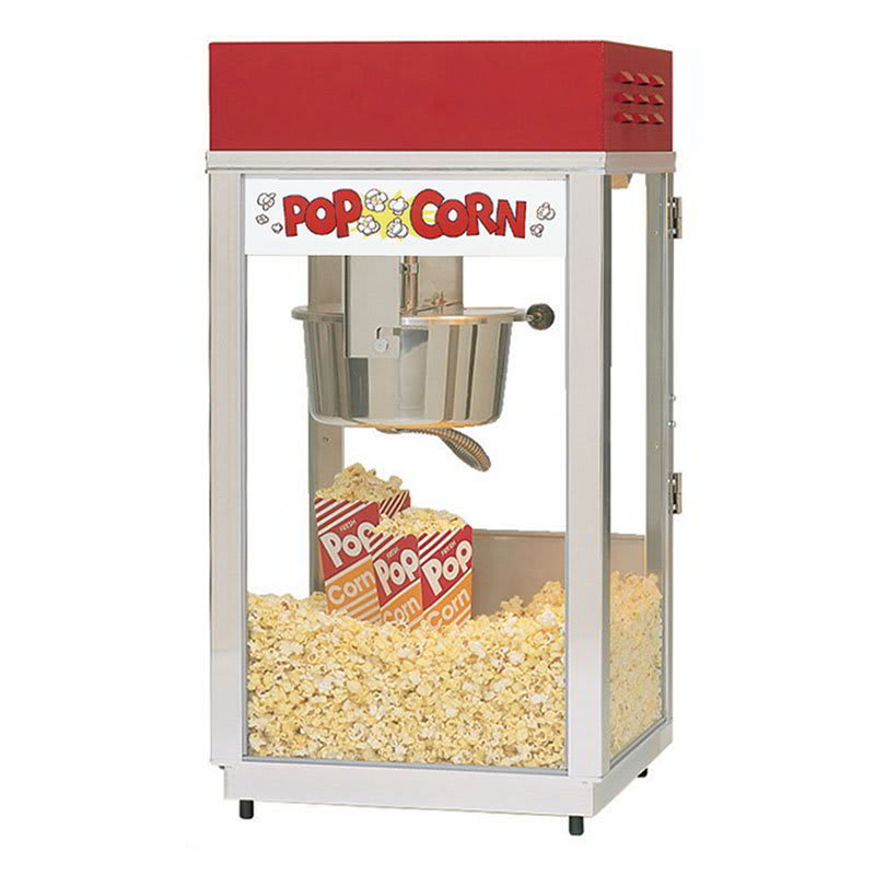 Gold Medal 2488 120208 Super 88 Popcorn Machine w/ 8-oz EZ Kettle & Red Dome, 120/208V
