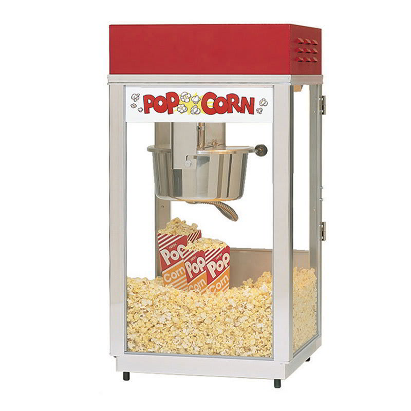 Gold Medal 2488 Super 88 Popcorn Machine w/ 8 oz EZ Kettle & Red Dome, 120v