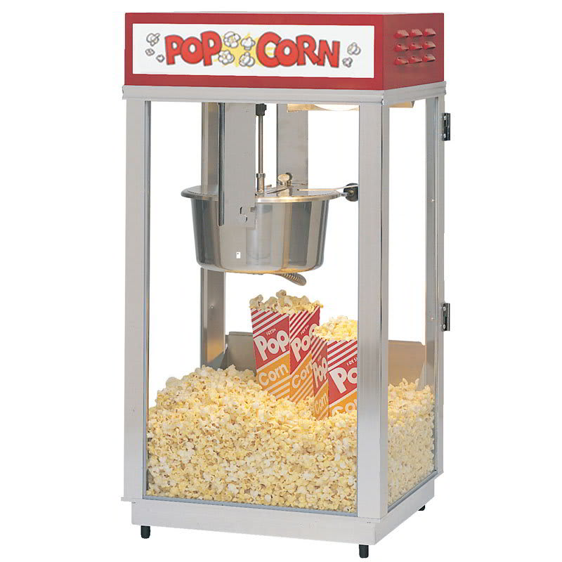 Gold Medal 2489 Super 88 Popcorn Machine w/ 8-oz EZ Kettle & Red Dome, Sign, 120v