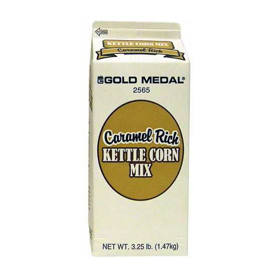 Gold Medal 2565 3.25 lb Caramel Rich Kettle Corn Mix, 6/Case
