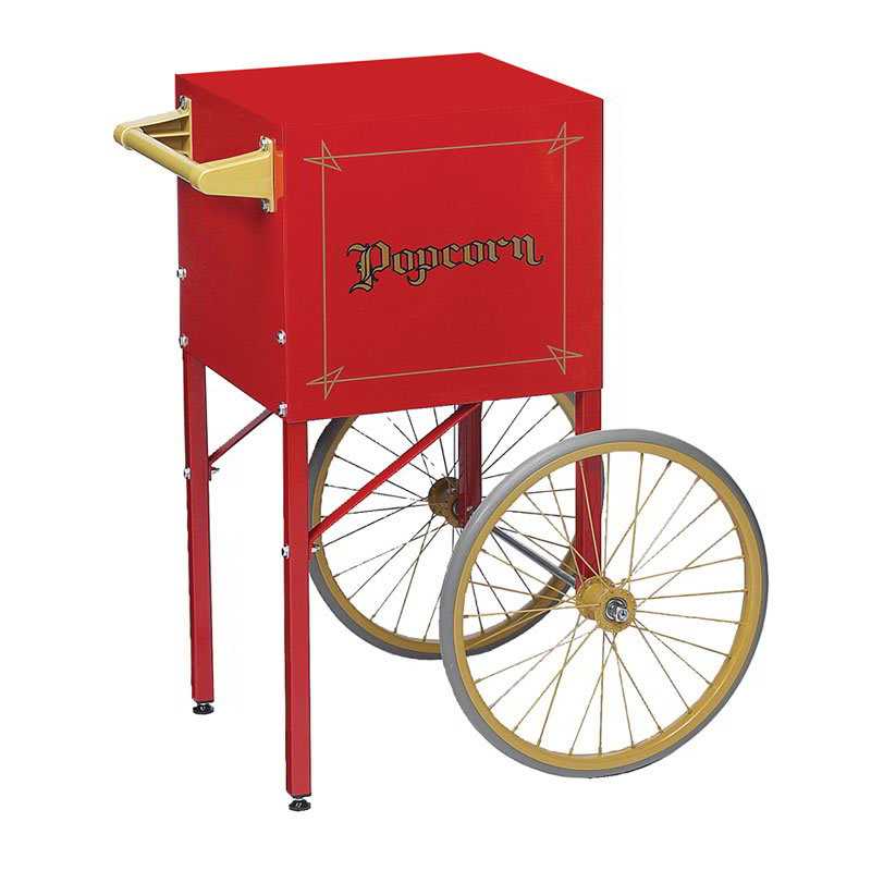 Gold Medal 2649CR Fun Pop Cart for 4 oz Popper w/ Storage Compartment & 2 Spoke Wheels, Red