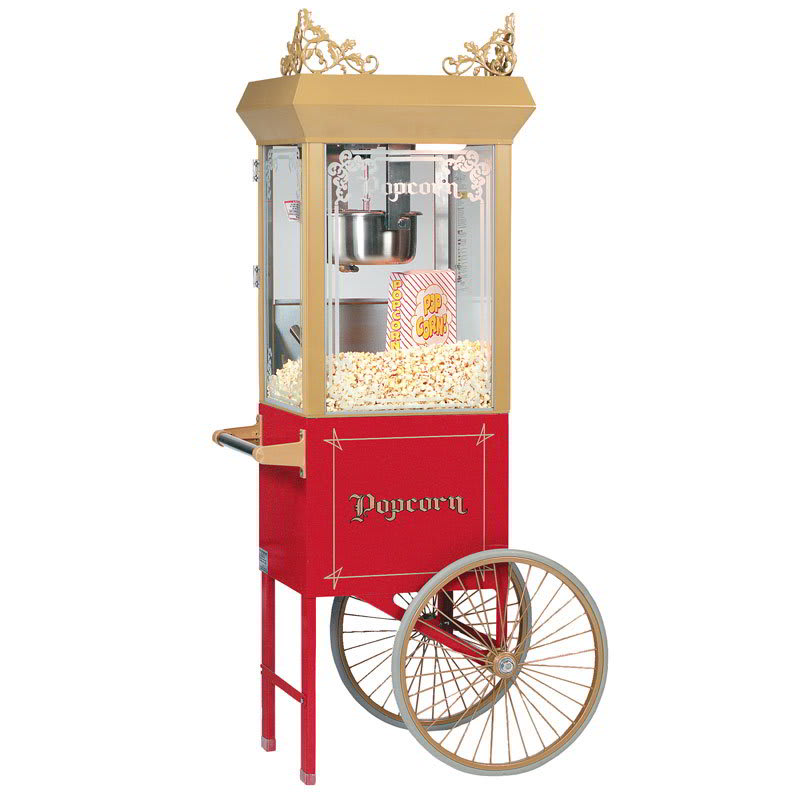 Gold Medal 2660GT Antique Deluxe Popcorn Machine w/ 6-oz Kettle & Gold Dome, 120v