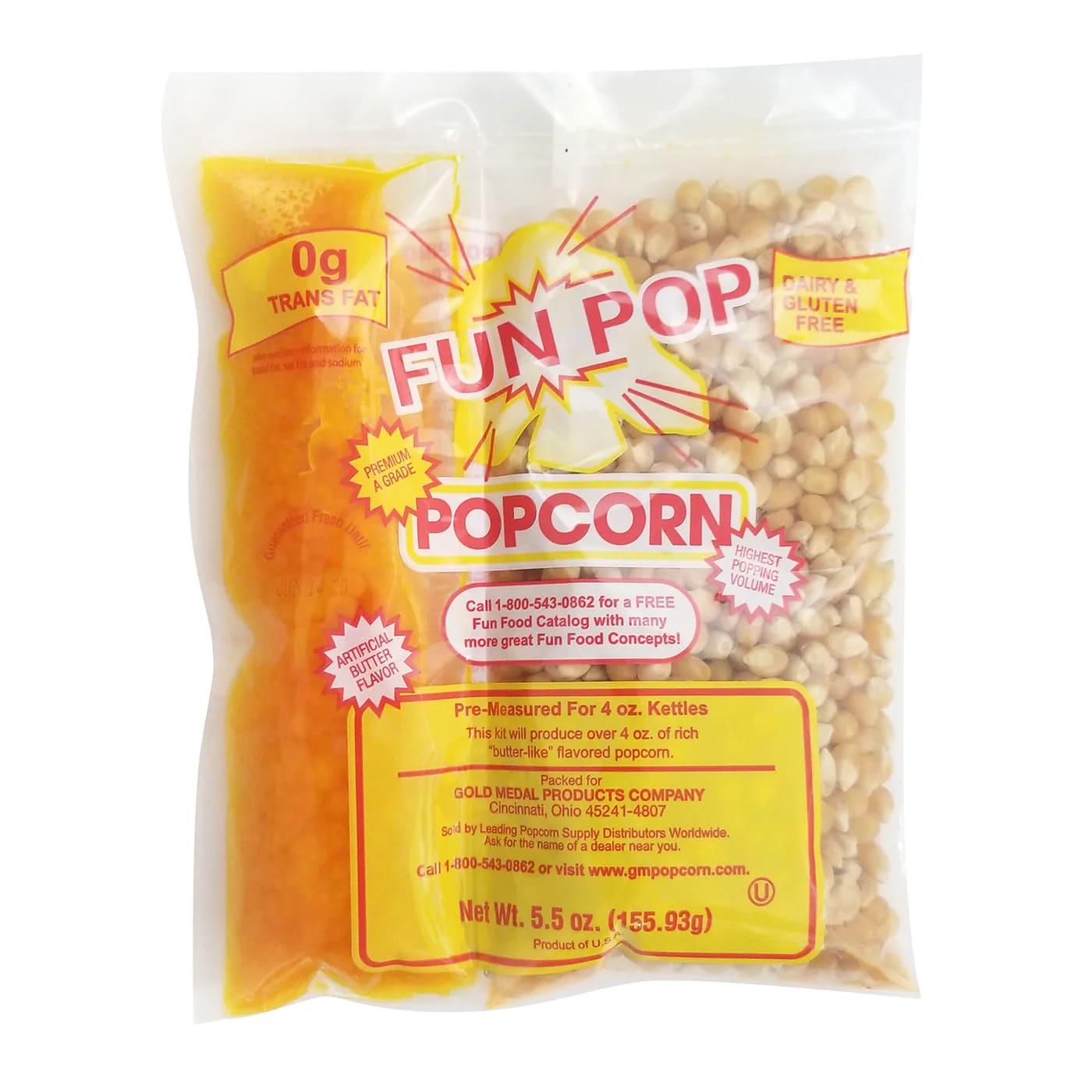 Gold Medal 2834 FunPop MegaPop Kit, 4-oz, Includes Corn, Oil (coconut only), Salt