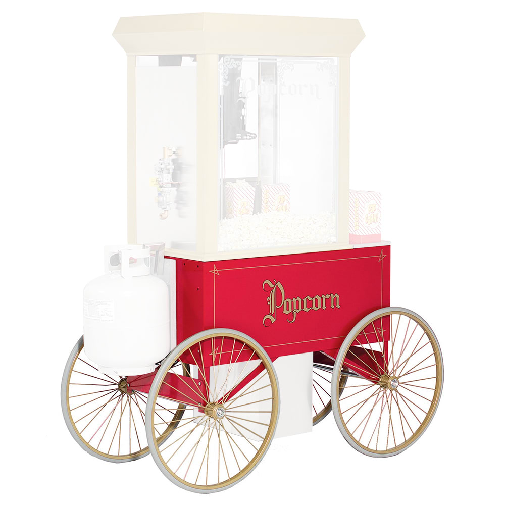 """Gold Medal 2936 Food Cart for Shaved Ice w/ Cover & Graphics, 57""""L x 26""""W x 90""""H, Red"""