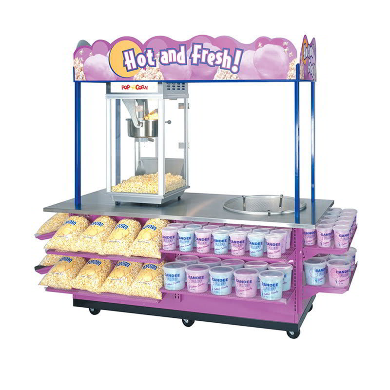 Gold Medal 2951 Combo Popcorn & Cotton Candy Cart w/ Locking Doors & Stainless Countertop