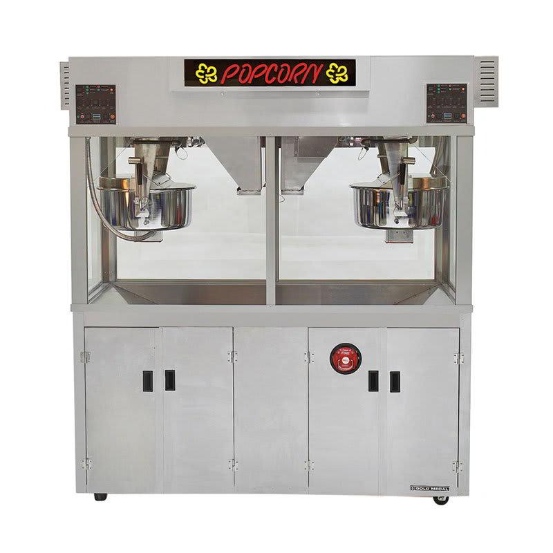 Gold Medal 2973EDN Twin Medallion Popcorn Machine w/ (2) 52-oz Kettles & 104-oz Popping Capacity