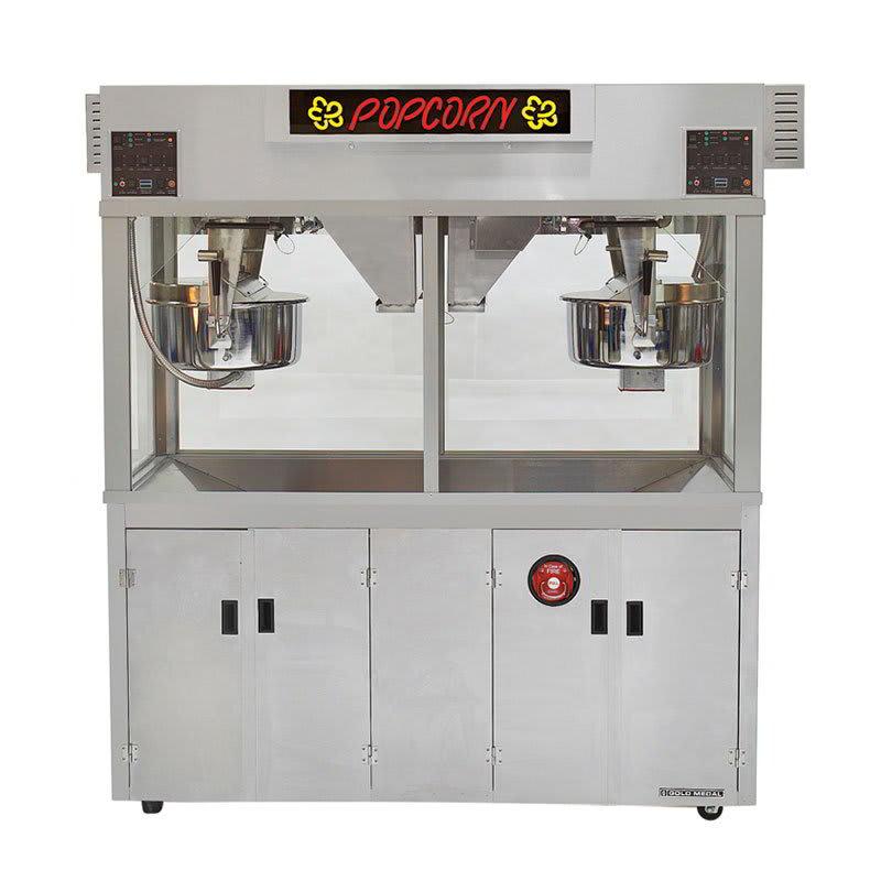 "Gold Medal 2973EDN 120240 Twin Popcorn Machine w/ (2) 52-oz Kettles, 72"" Cabinet, 120/240V"