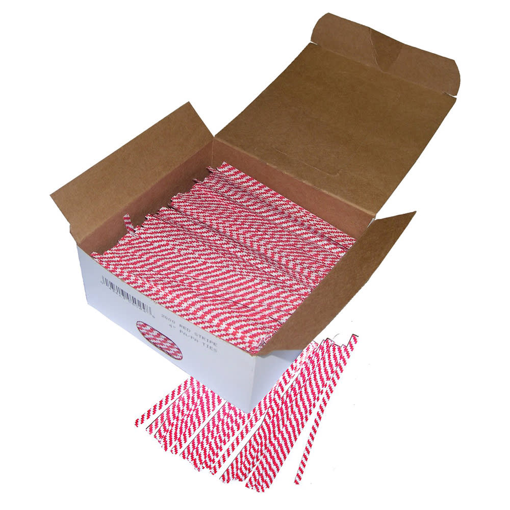 "Gold Medal 4015 4"" Red & White Striped Twist Ties, 2,000/Carton"