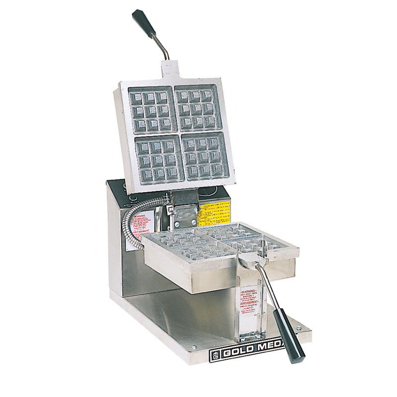 Gold Medal 5024 Single Classic Belgian Waffle Maker w/ Stainless Steel Grids, 1600W