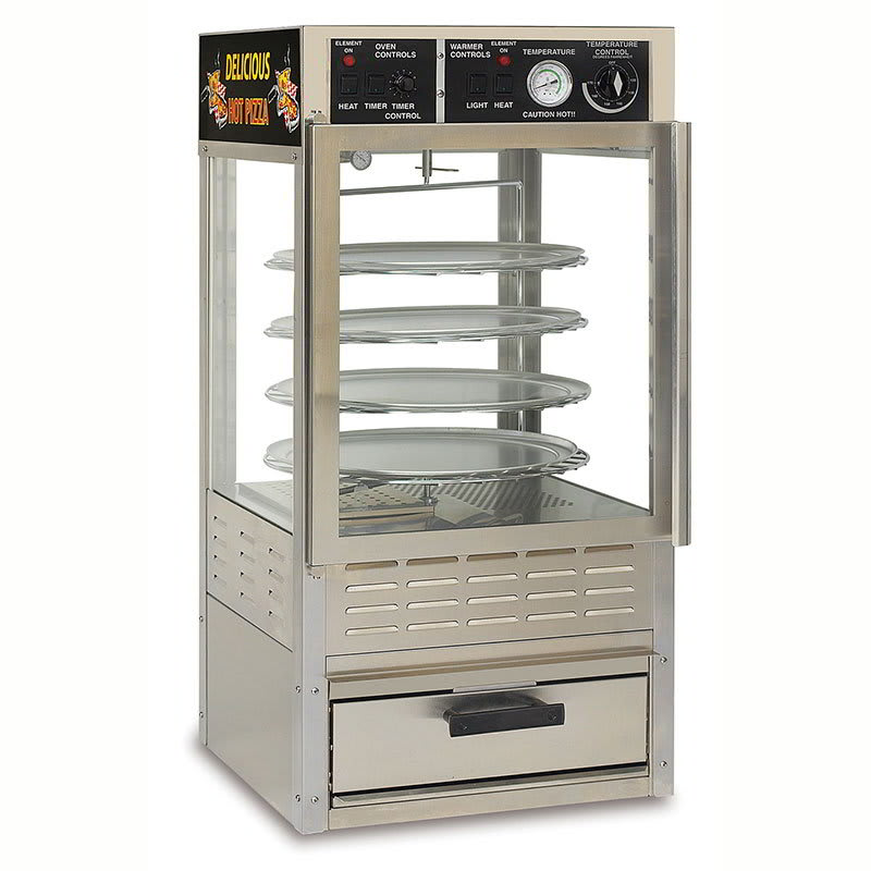 "Gold Medal 5552PZ 24"" Countertop Humidified Merchandiser w/ (4) 14"" Pizza Capacity & Rotating Rack"
