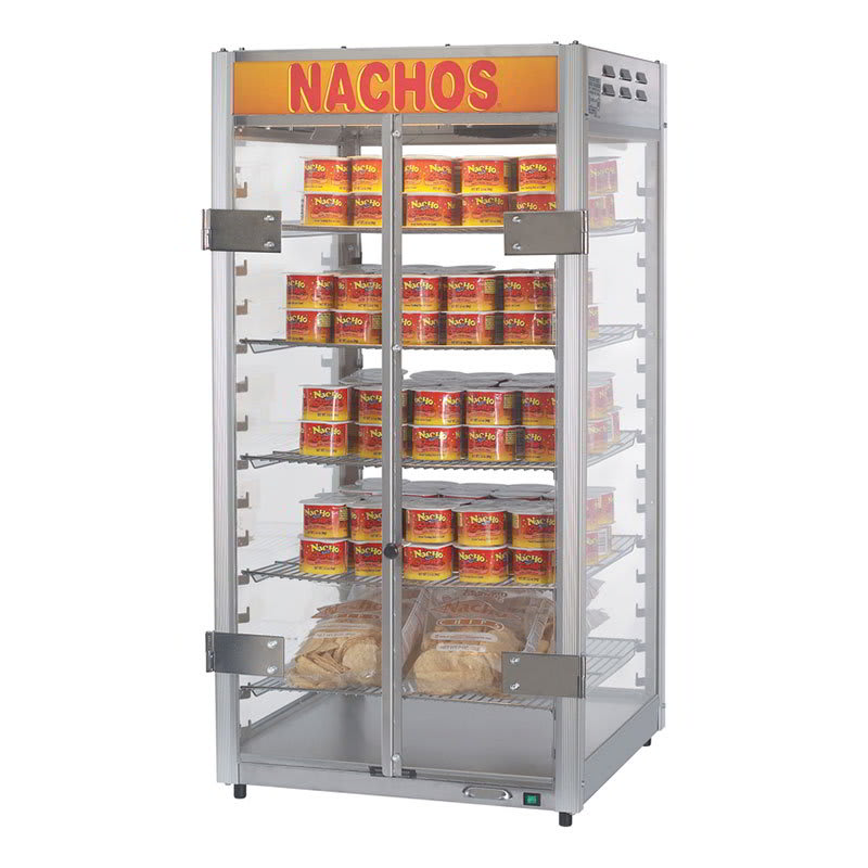 "Gold Medal 5588-00-100 12"" Countertop Grande Nacho Portion Pak Display w/ 5 Shelves & 2 Lift Out Doors, 120v"