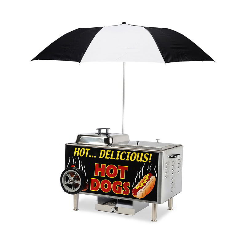 Gold Medal 8081 Tabletop Hot Dog Steamer Cart w/ 2 Hot Dog & 1 Bun Compartments