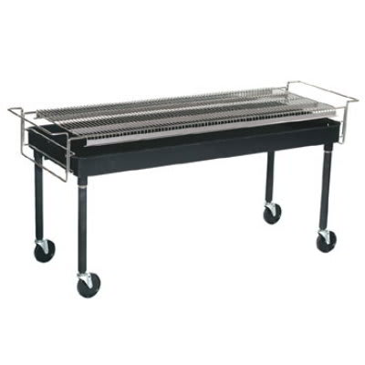 Gold Medal 8099 Big Wes Charcoal Grill, 24 in x 60 in, Three Position, Casters