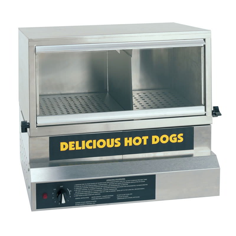 Gold Medal 8151 Heavy Duty Steamer & Bun Warmer w/ 75-Hot Dog Capacity & Adjustable Steam