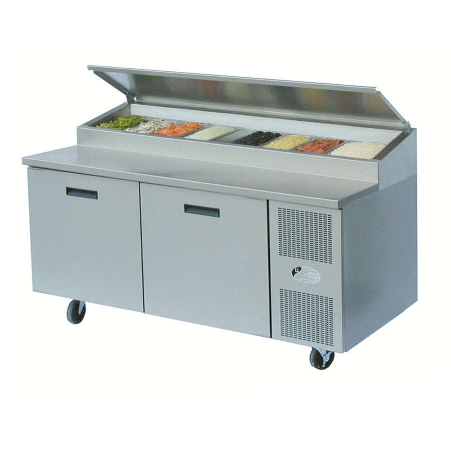 "Randell 8268NPCB 68"" Pizza Prep Table w/ Refrigerated Base, 115v"