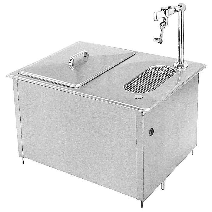 """Randell 9500 60-lb Drop-In Ice Bin w/ Glass Filler & Drain Trough - 23"""" x 17.87"""", Stainless"""