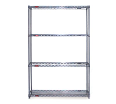 """Eagle Group S4-63-1848V Wire Shelving Starter Kit - (4) 18x48"""" Wire Shelf, 63"""" Post, Pewter Gray"""