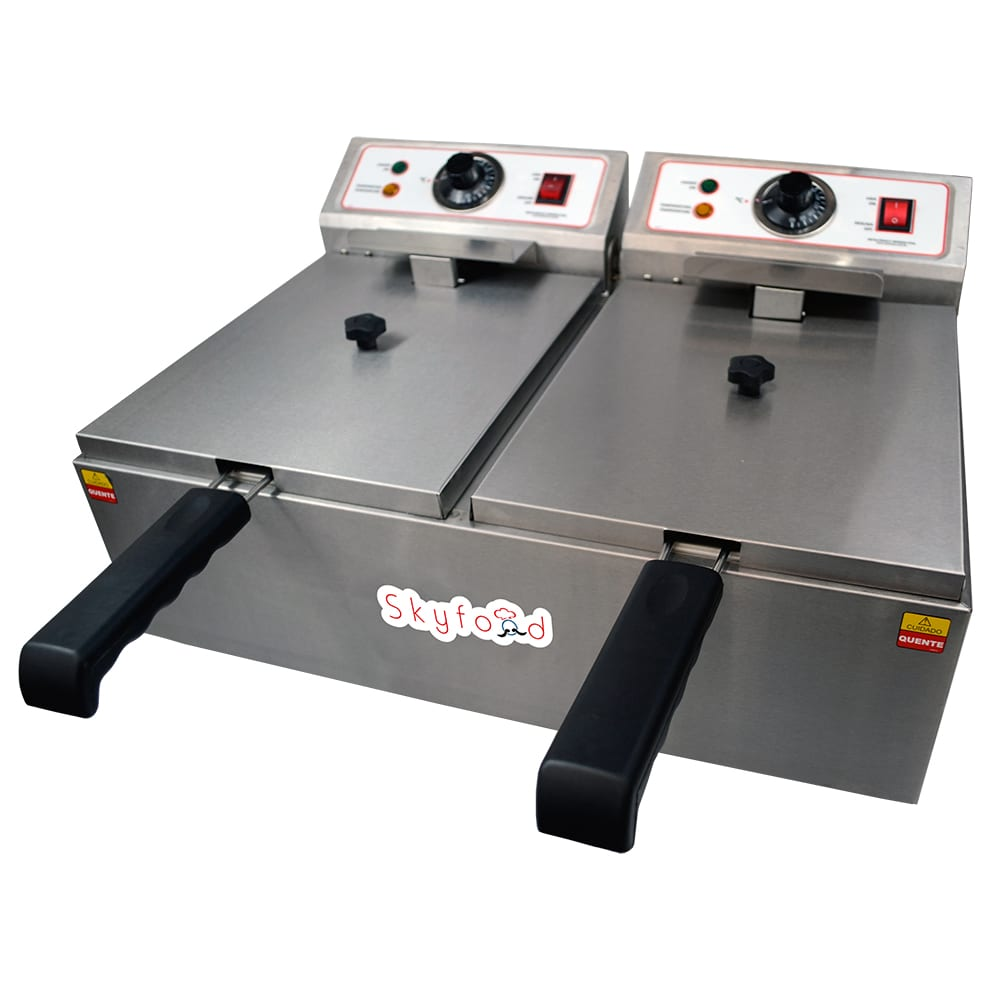 Skyfood FED-20-N Countertop Electric Fryer - (2) 10 lb Vats, 110v